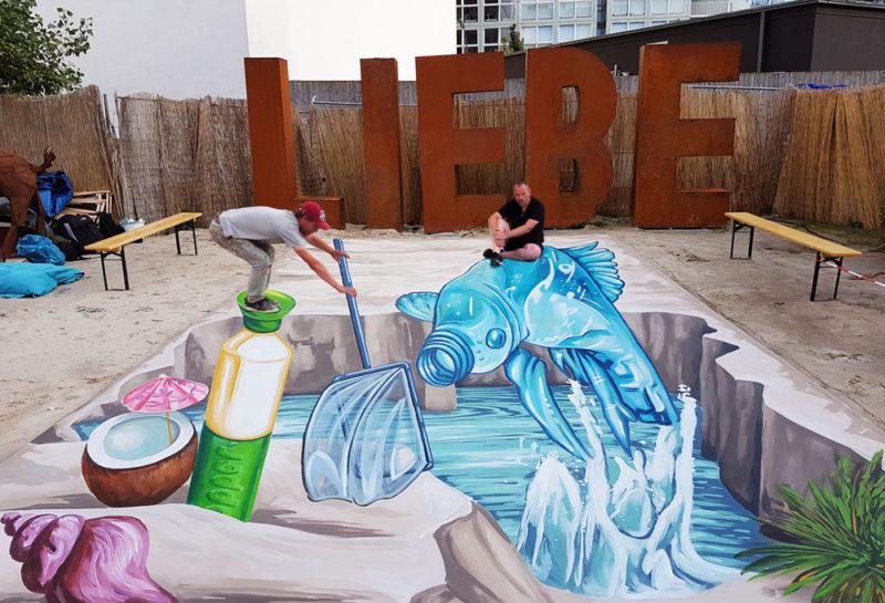 3D streetart Dopper